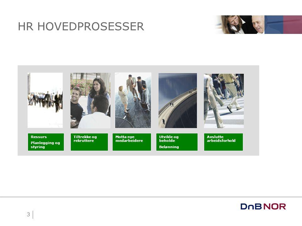 HR HOVEDPROSESSER 3 Ressurs Planlegging og styring