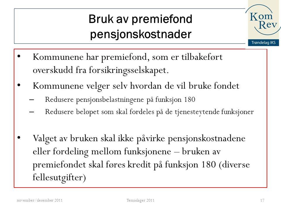 Bruk av premiefond pensjonskostnader
