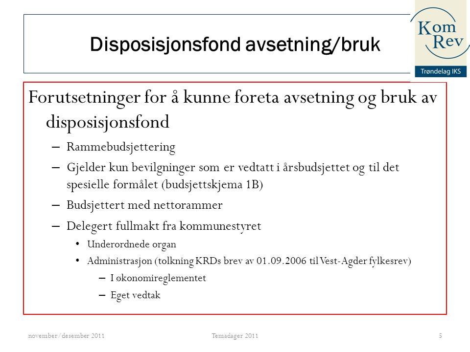Disposisjonsfond avsetning/bruk