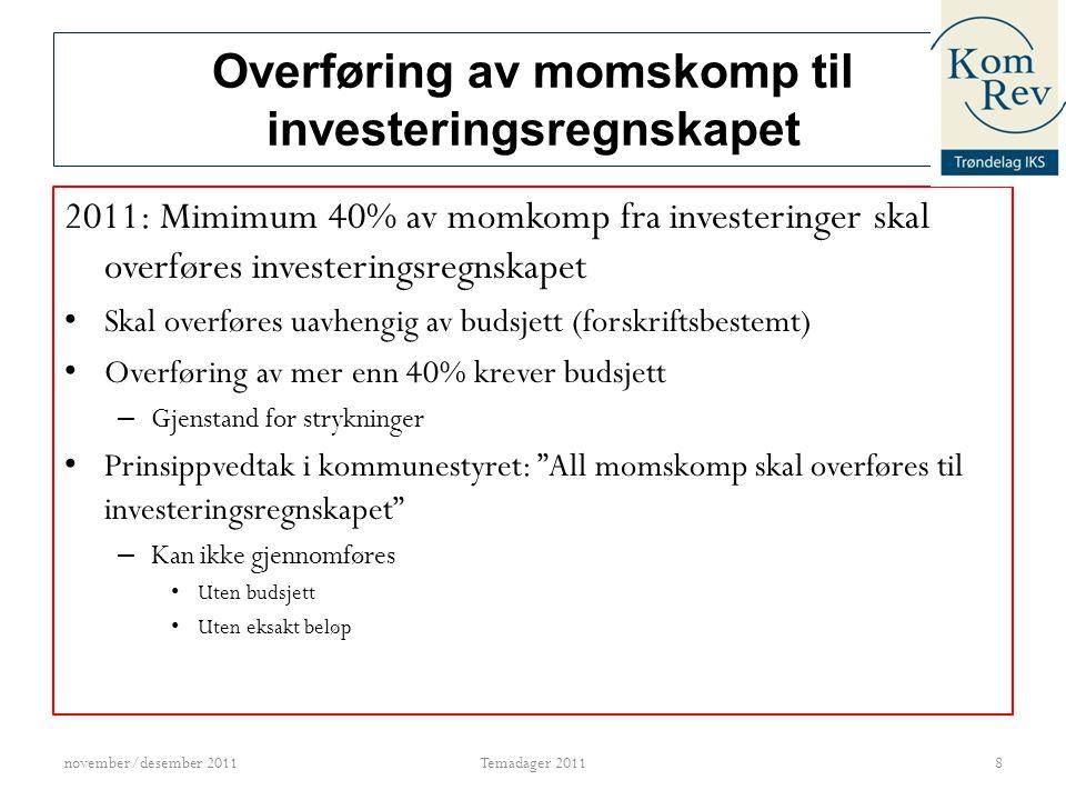 Overføring av momskomp til investeringsregnskapet