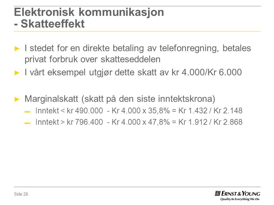 Elektronisk kommunikasjon - Skatteeffekt