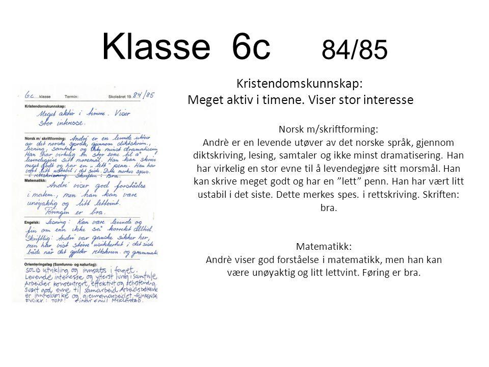 Klasse 6c 84/85 Kristendomskunnskap: