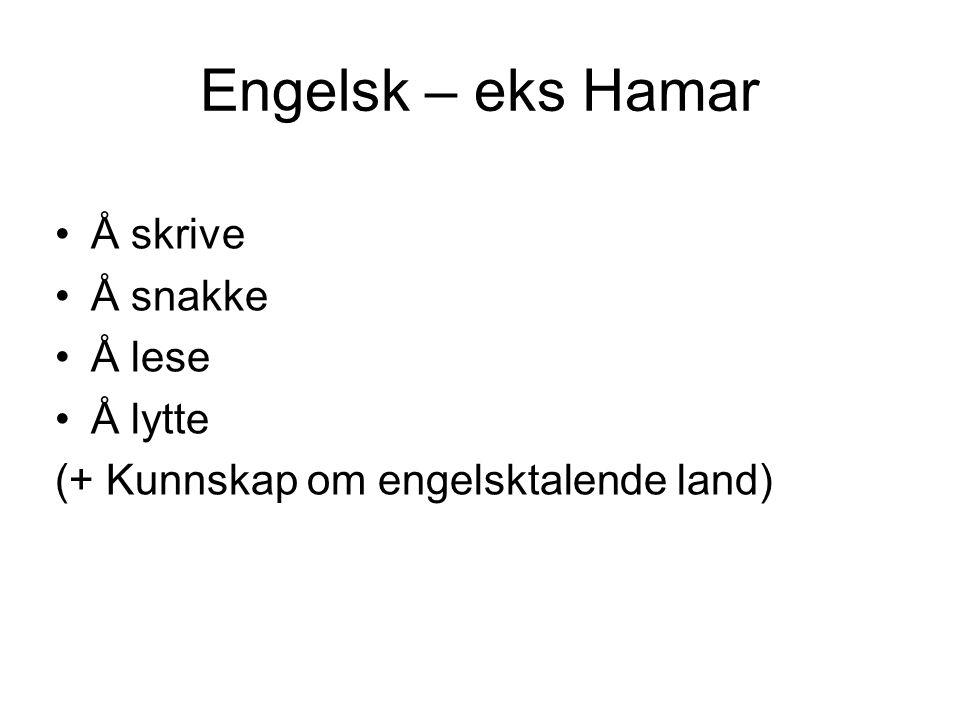 Engelsk – eks Hamar Å skrive Å snakke Å lese Å lytte