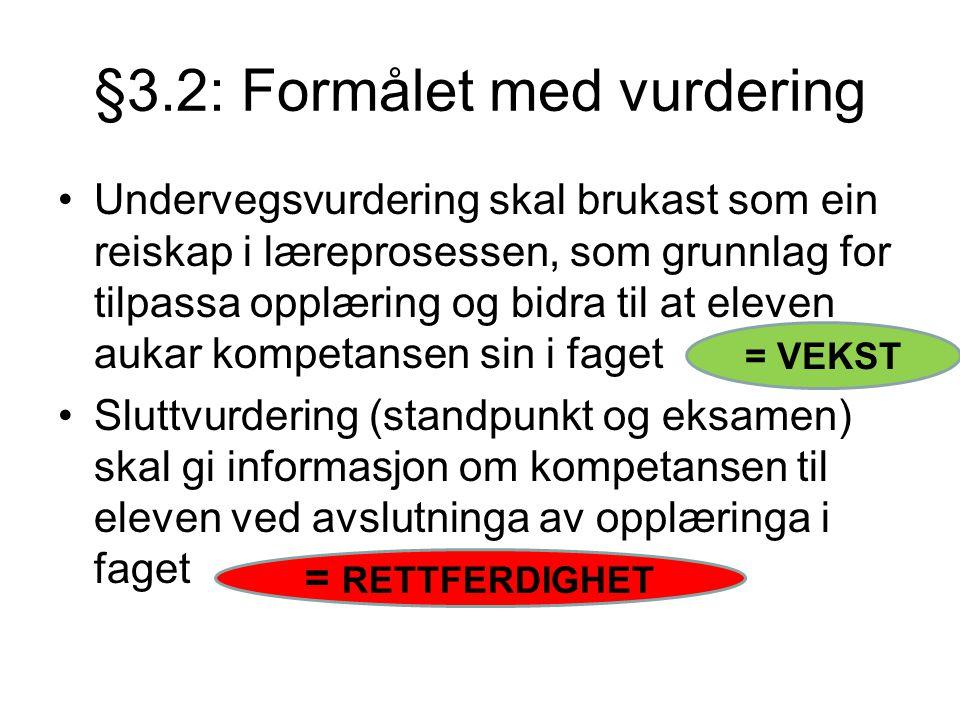 §3.2: Formålet med vurdering