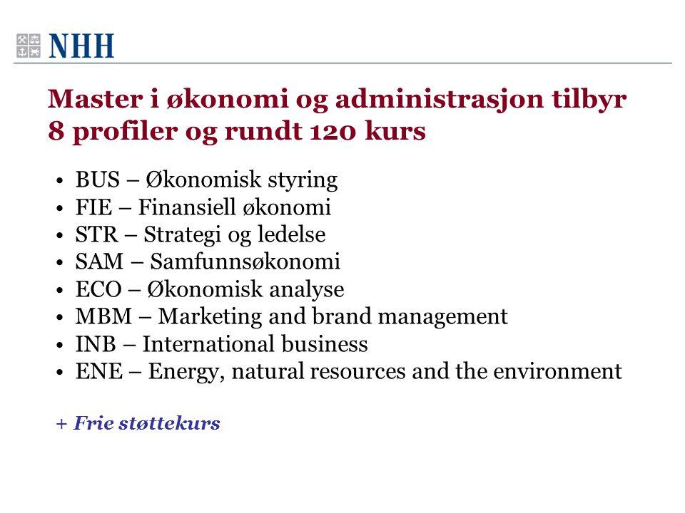 Master i økonomi og administrasjon tilbyr 8 profiler og rundt 120 kurs