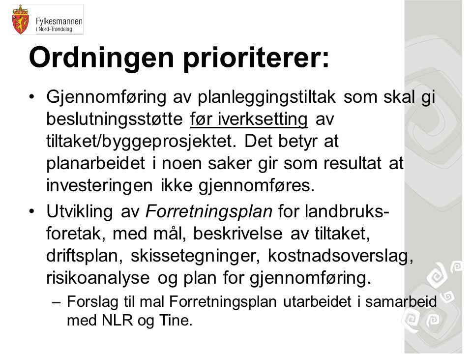 Ordningen prioriterer: