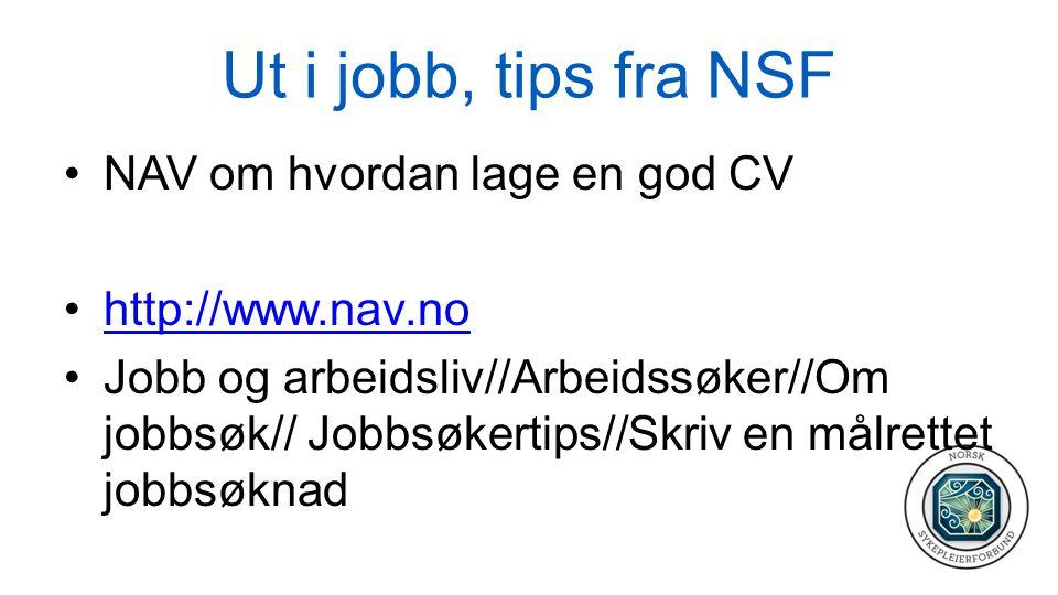 Ut i jobb, tips fra NSF NAV om hvordan lage en god CV
