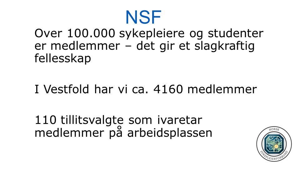 NSF Over 100.000 sykepleiere og studenter er medlemmer – det gir et slagkraftig fellesskap. I Vestfold har vi ca. 4160 medlemmer.