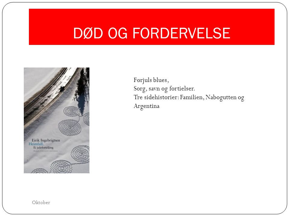 DØD OG FORDERVELSE Førjuls blues,