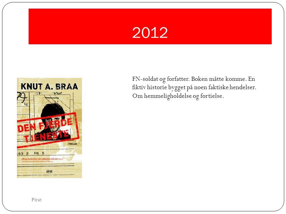 2012 FN-soldat og forfatter. Boken måtte komme. En fiktiv historie bygget på noen faktiske hendelser.
