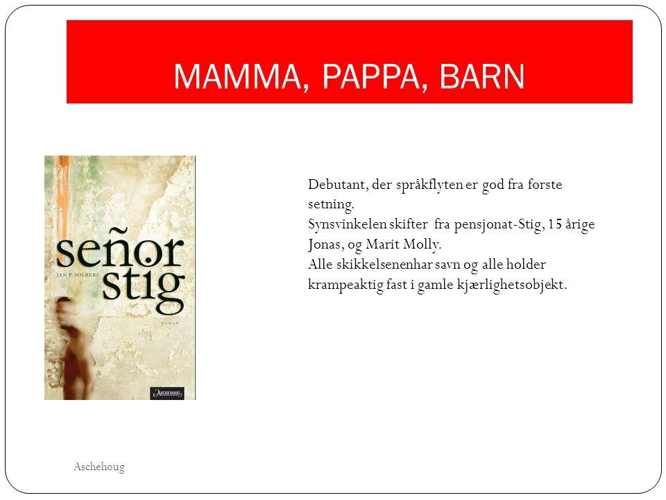 MAMMA, PAPPA, BARN Debutant, der språkflyten er god fra første setning. Synsvinkelen skifter fra pensjonat-Stig, 15 årige Jonas, og Marit Molly.