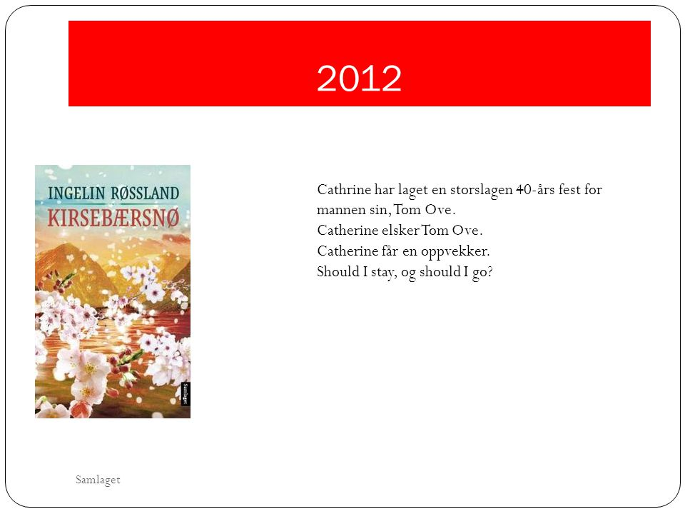 2012 Cathrine har laget en storslagen 40-års fest for mannen sin, Tom Ove. Catherine elsker Tom Ove.