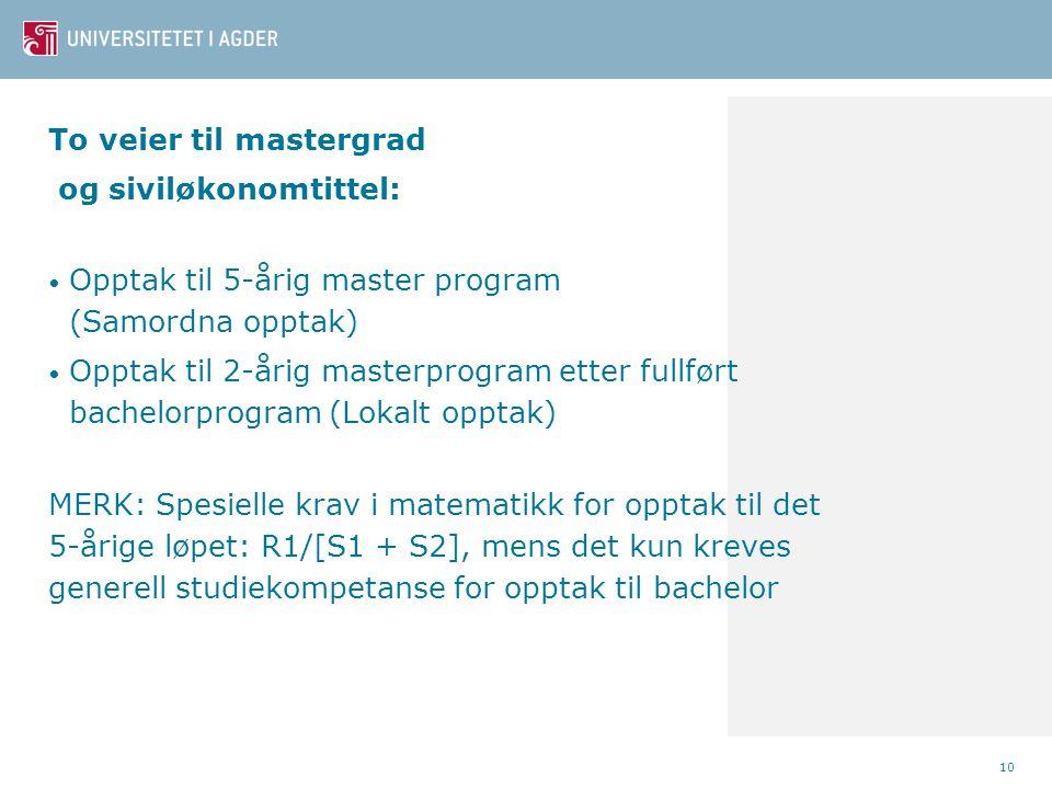 To veier til mastergrad