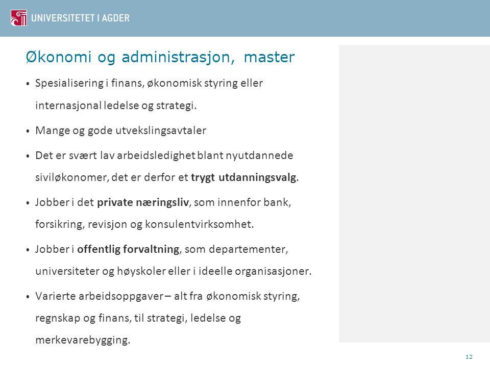 Økonomi og administrasjon, master