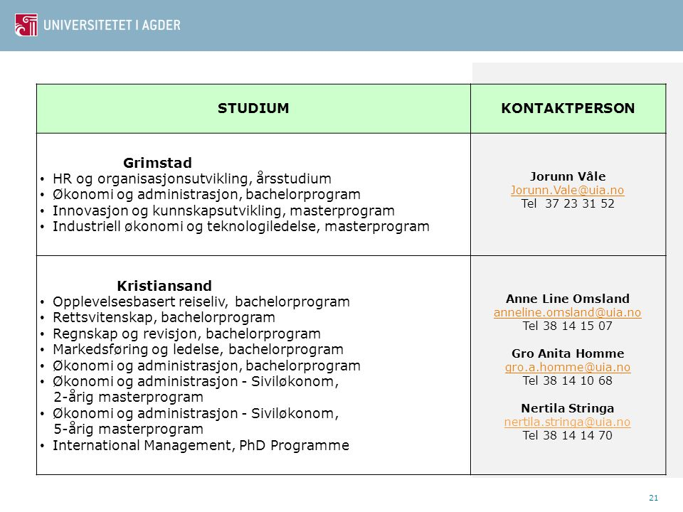 STUDIUM KONTAKTPERSON