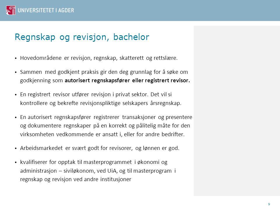 Regnskap og revisjon, bachelor