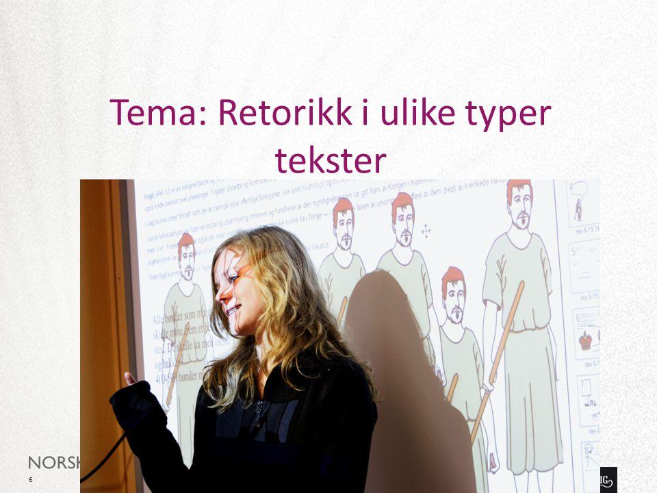 Tema: Retorikk i ulike typer tekster
