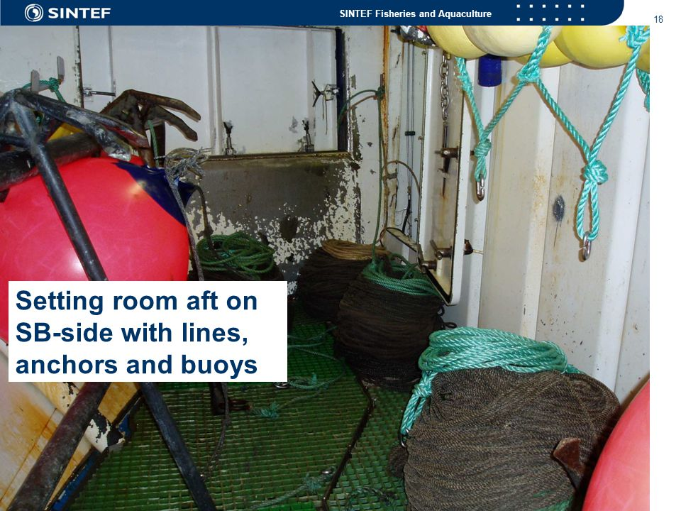 Setting room aft on SB-side with lines, anchors and buoys