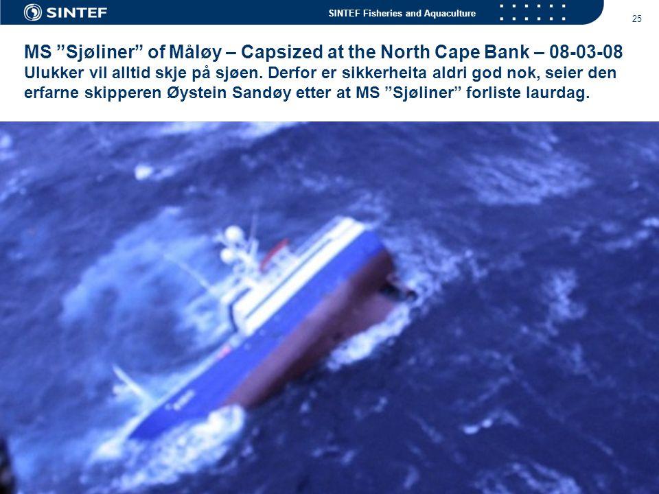 MS Sjøliner of Måløy – Capsized at the North Cape Bank – 08-03-08 Ulukker vil alltid skje på sjøen.