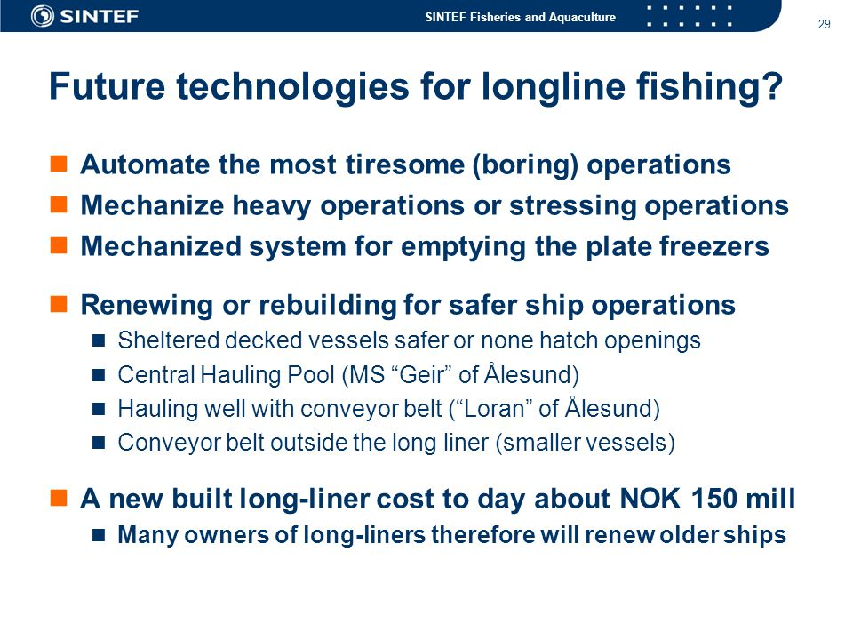 Future technologies for longline fishing