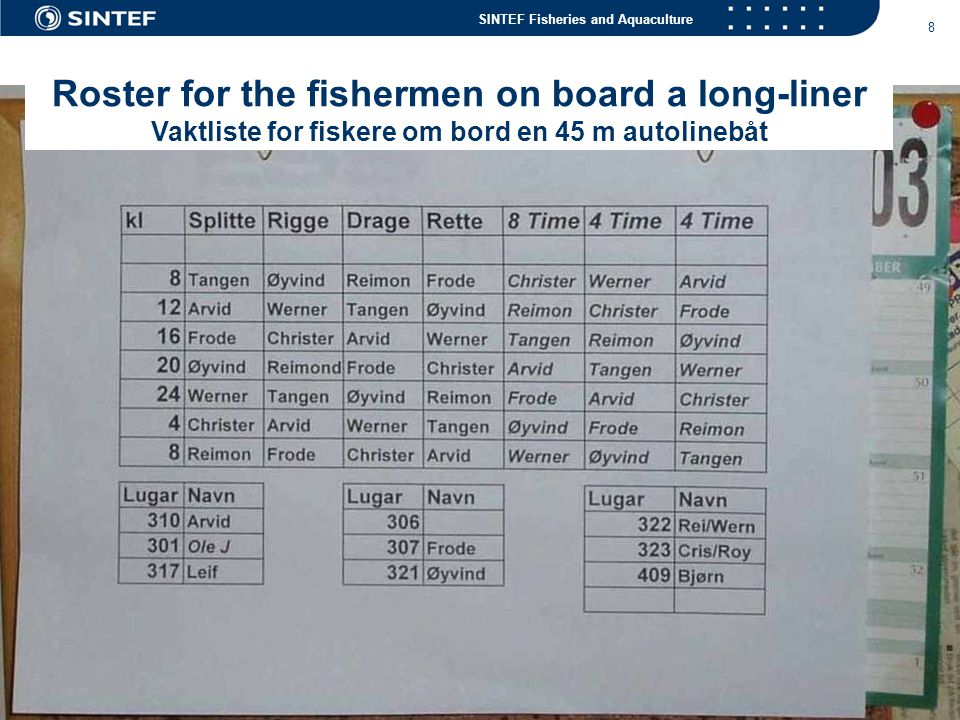 Roster for the fishermen on board a long-liner Vaktliste for fiskere om bord en 45 m autolinebåt
