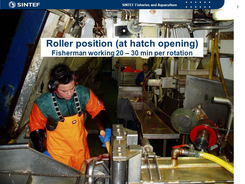Roller position (at hatch opening) Fisherman working 20 – 30 min per rotation