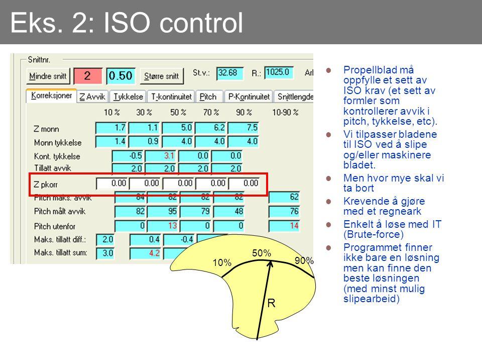 Eks. 2: ISO control Propellblad må oppfylle et sett av ISO krav (et sett av formler som kontrollerer avvik i pitch, tykkelse, etc).