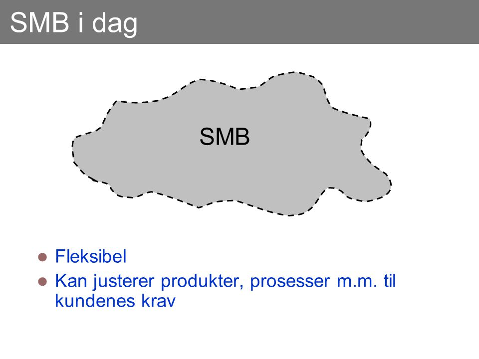 SMB i dag SMB Fleksibel Kan justerer produkter, prosesser m.m. til kundenes krav