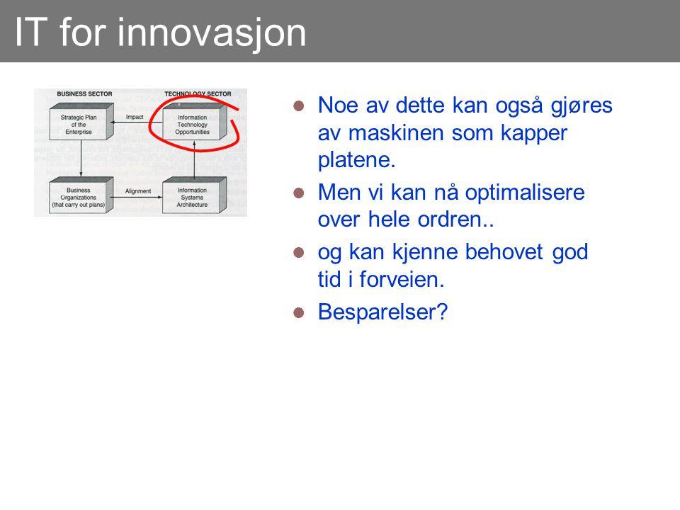 IT for innovasjon Noe av dette kan også gjøres av maskinen som kapper platene. Men vi kan nå optimalisere over hele ordren..