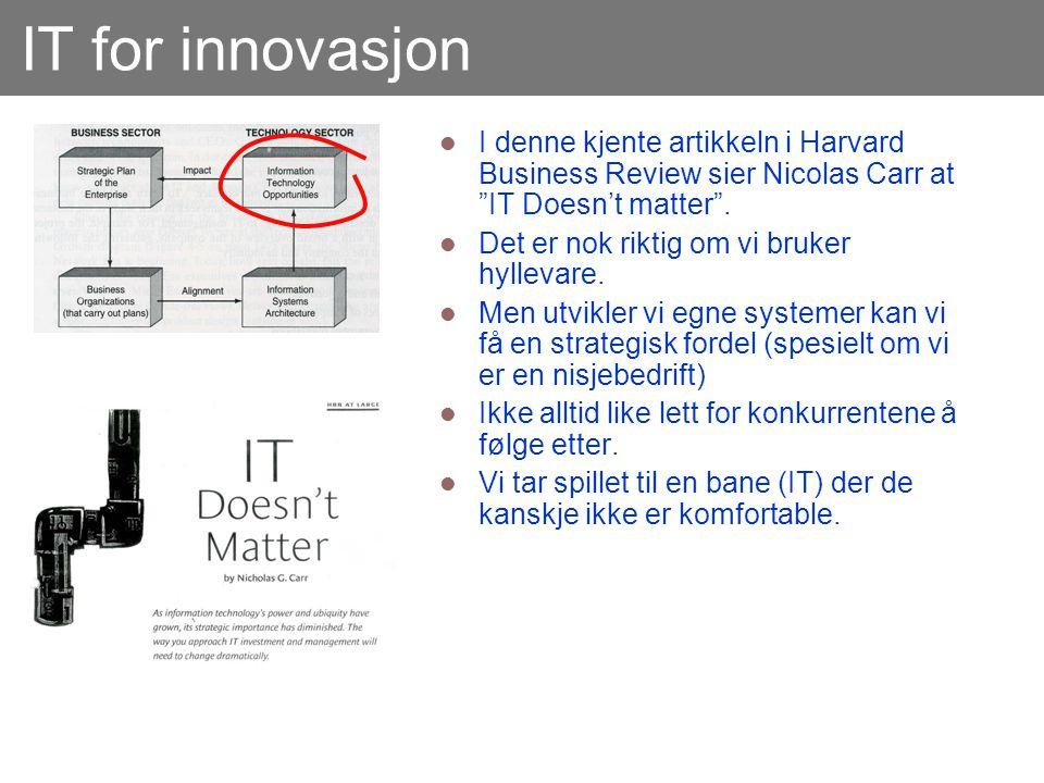 IT for innovasjon I denne kjente artikkeln i Harvard Business Review sier Nicolas Carr at IT Doesn't matter .