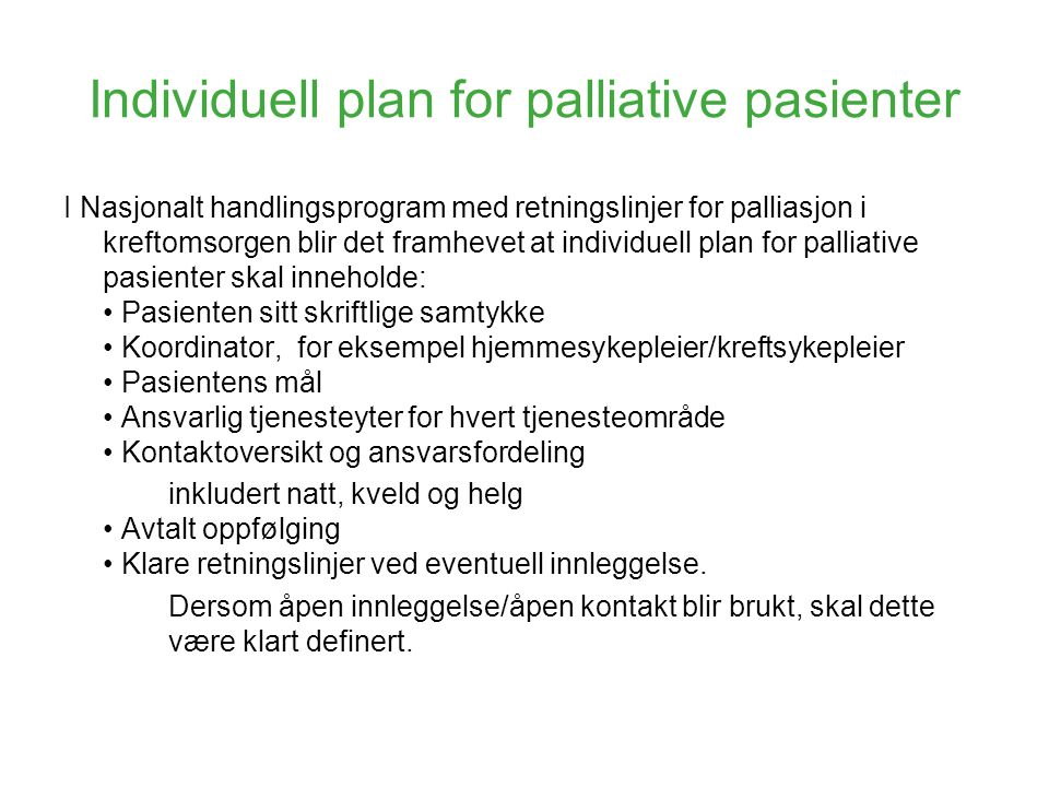 Individuell plan for palliative pasienter