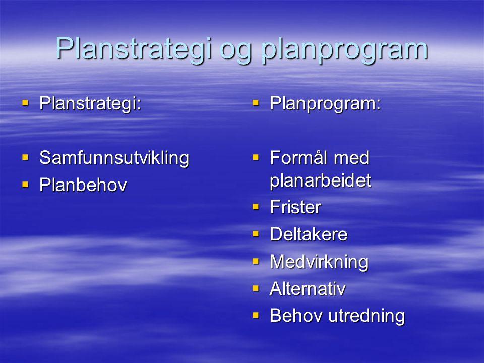 Planstrategi og planprogram