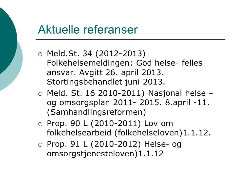 Aktuelle referanser Meld.St. 34 (2012-2013) Folkehelsemeldingen: God helse- felles ansvar. Avgitt 26. april 2013. Stortingsbehandlet juni 2013.