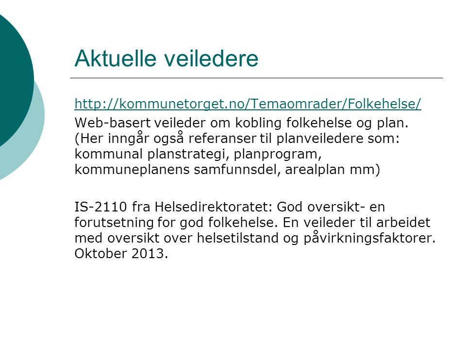 Aktuelle veiledere http://kommunetorget.no/Temaomrader/Folkehelse/