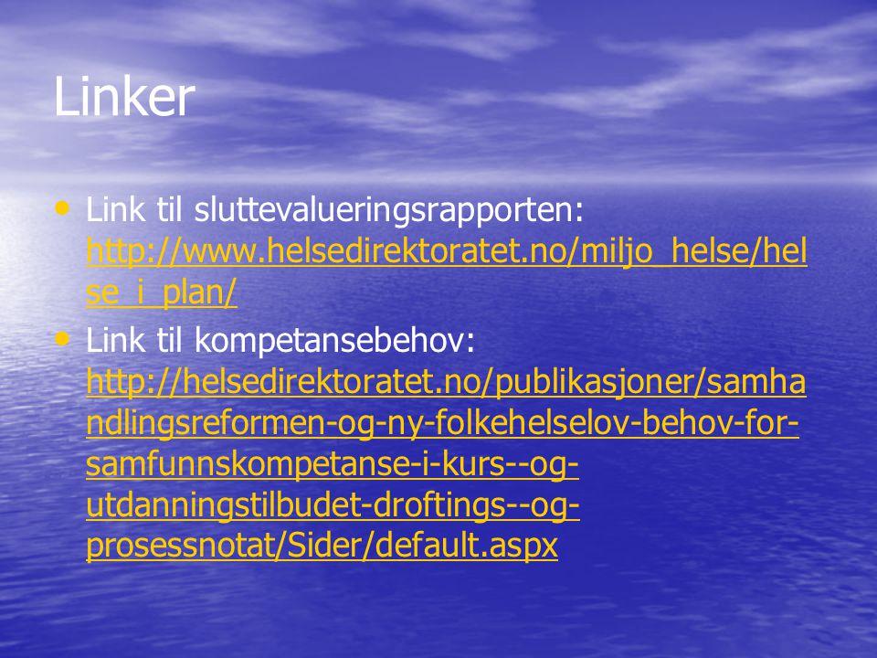 Linker Link til sluttevalueringsrapporten: http://www.helsedirektoratet.no/miljo_helse/helse_i_plan/