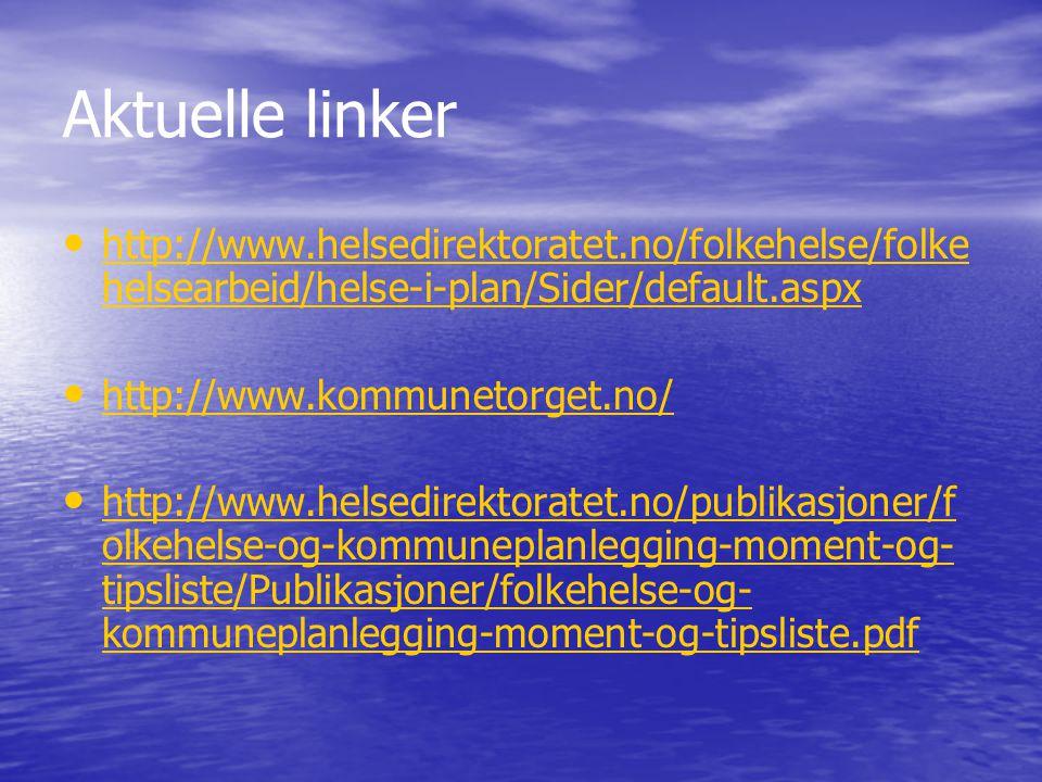 Aktuelle linker http://www.helsedirektoratet.no/folkehelse/folkehelsearbeid/helse-i-plan/Sider/default.aspx.