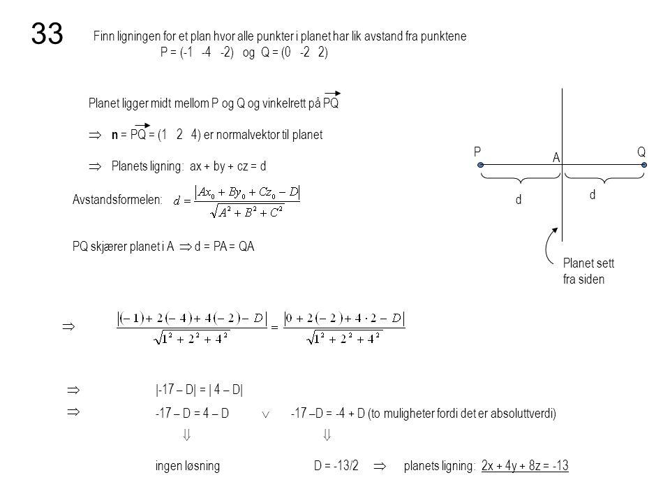 33 Finn ligningen for et plan hvor alle punkter i planet har lik avstand fra punktene P = (-1 -4 -2) og Q = (0 -2 2)