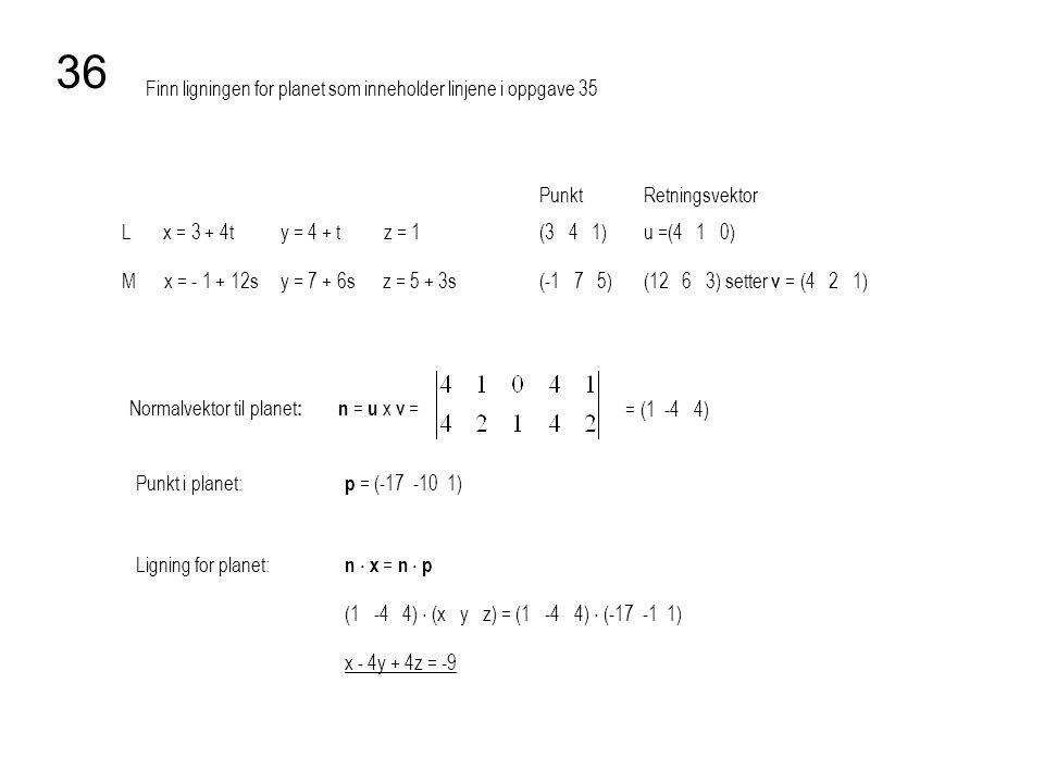 36 Finn ligningen for planet som inneholder linjene i oppgave 35