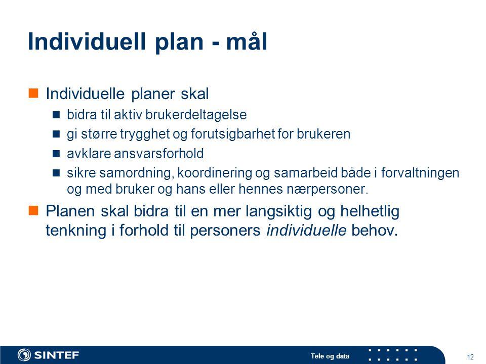 Individuell plan - mål Individuelle planer skal