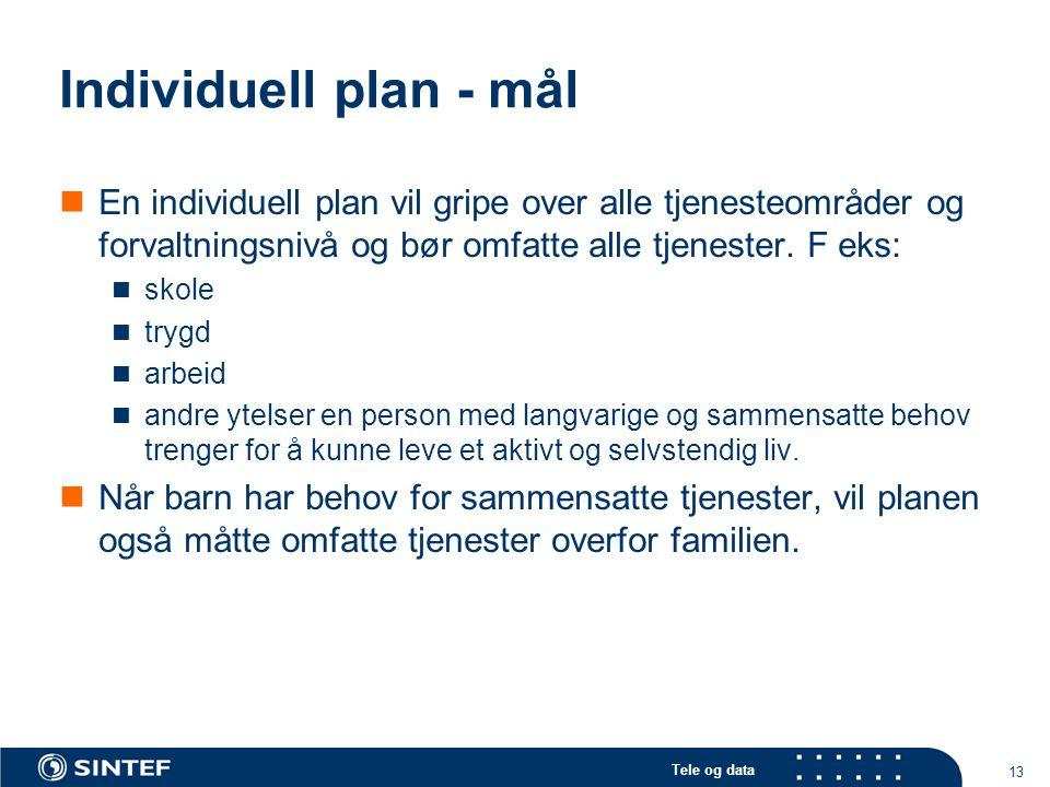 Individuell plan - mål En individuell plan vil gripe over alle tjenesteområder og forvaltningsnivå og bør omfatte alle tjenester. F eks: