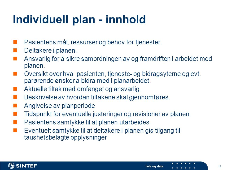 Individuell plan - innhold