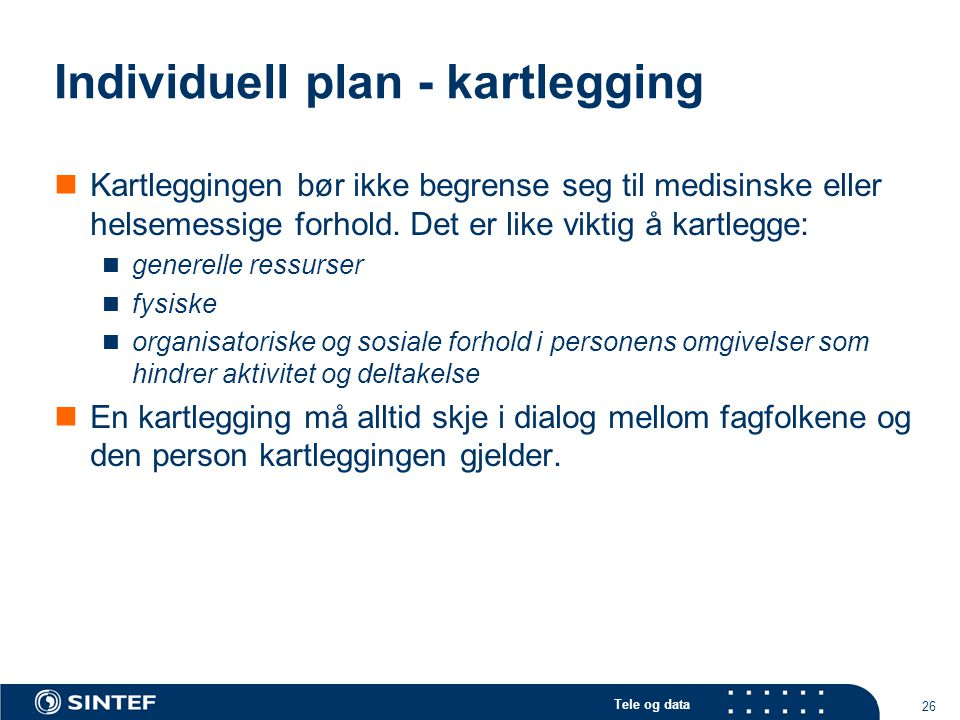 Individuell plan - kartlegging
