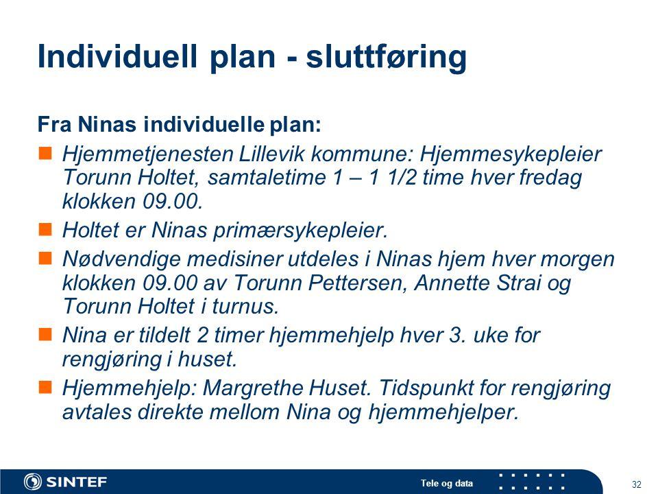 Individuell plan - sluttføring