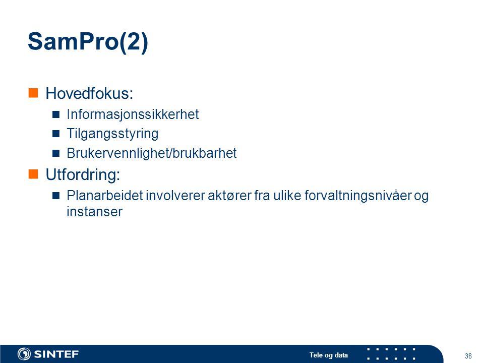 SamPro(2) Hovedfokus: Utfordring: Informasjonssikkerhet