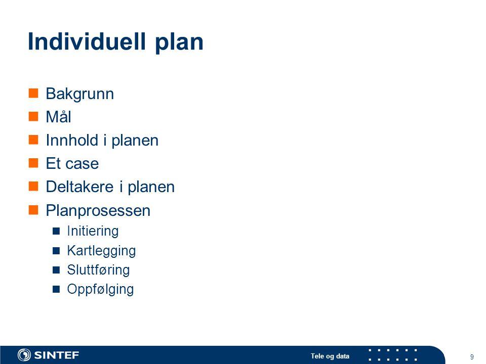 Individuell plan Bakgrunn Mål Innhold i planen Et case