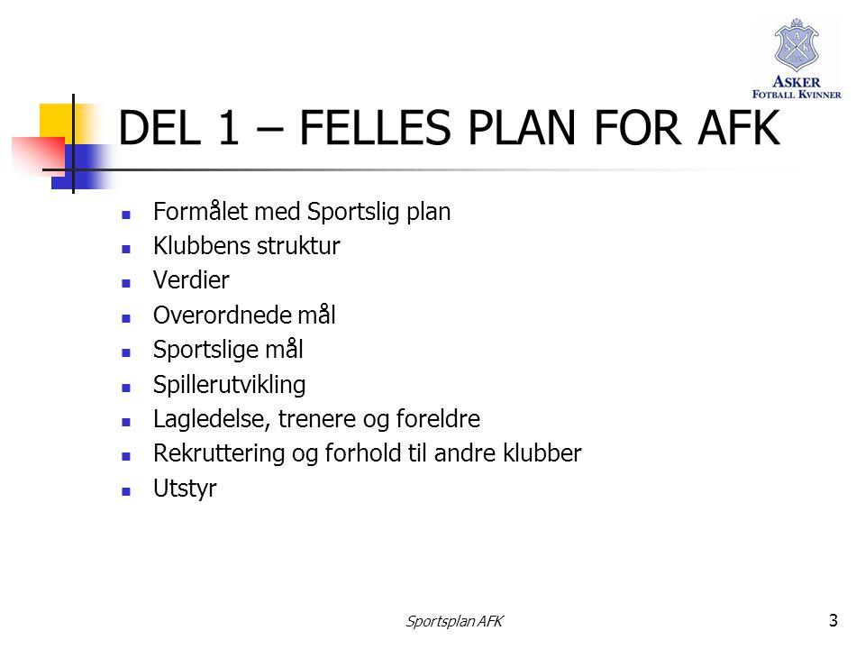 DEL 1 – FELLES PLAN FOR AFK