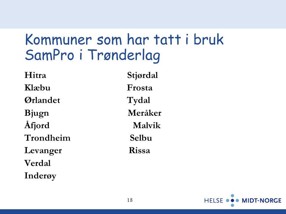 Kommuner som har tatt i bruk SamPro i Trønderlag