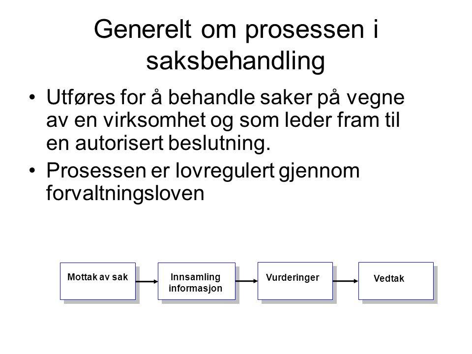 Generelt om prosessen i saksbehandling