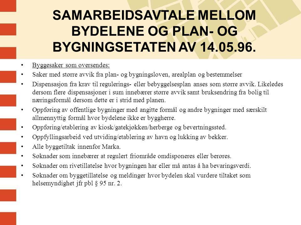 SAMARBEIDSAVTALE MELLOM BYDELENE OG PLAN- OG BYGNINGSETATEN AV 14. 05