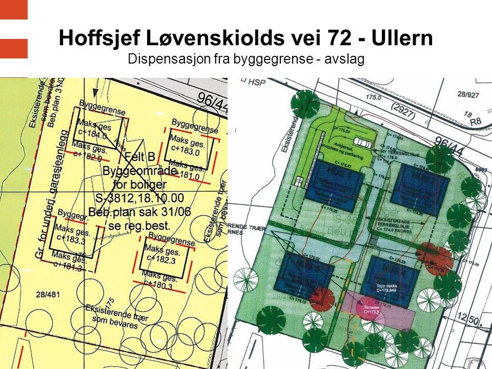 Hoffsjef Løvenskiolds vei 72 - Ullern Dispensasjon fra byggegrense - avslag